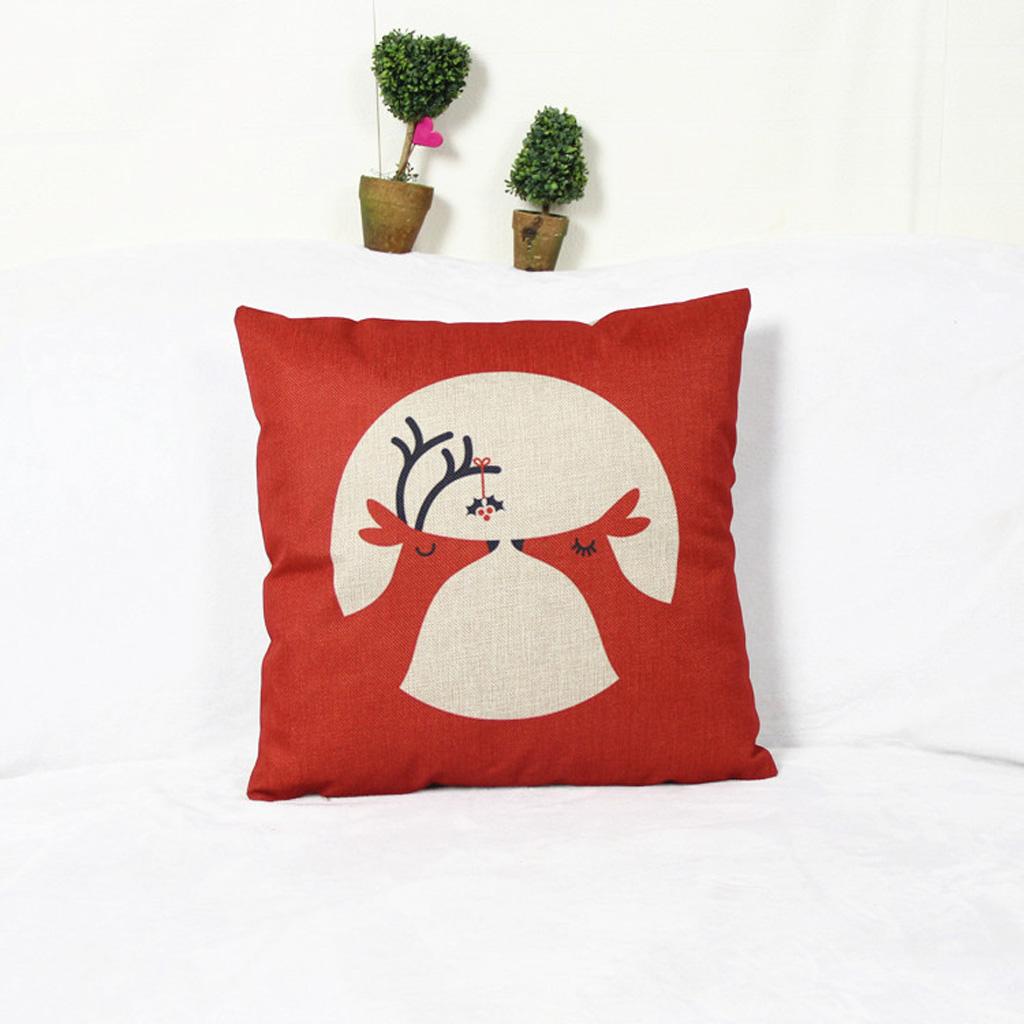 Christmas Couple Deer Cotton Linen Throw PillowCase Cushion Cover Decor