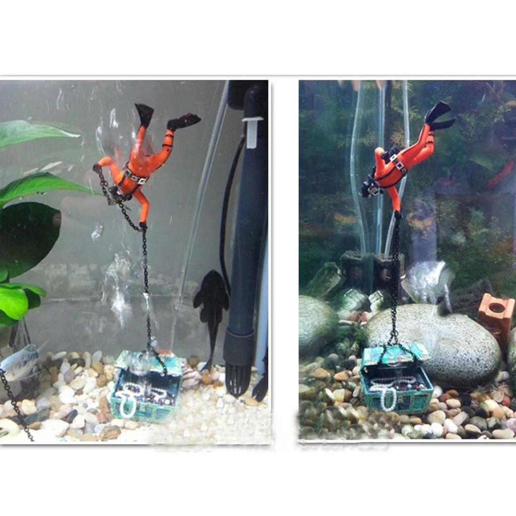 Treasure diver treasure hunter aquarium fish tank air for Aquarium diver decoration