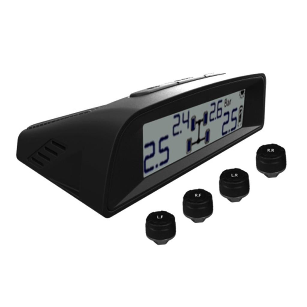 Solar TPMS Tire Pressure LCD Monitoring System Wireless 4 External Sensor