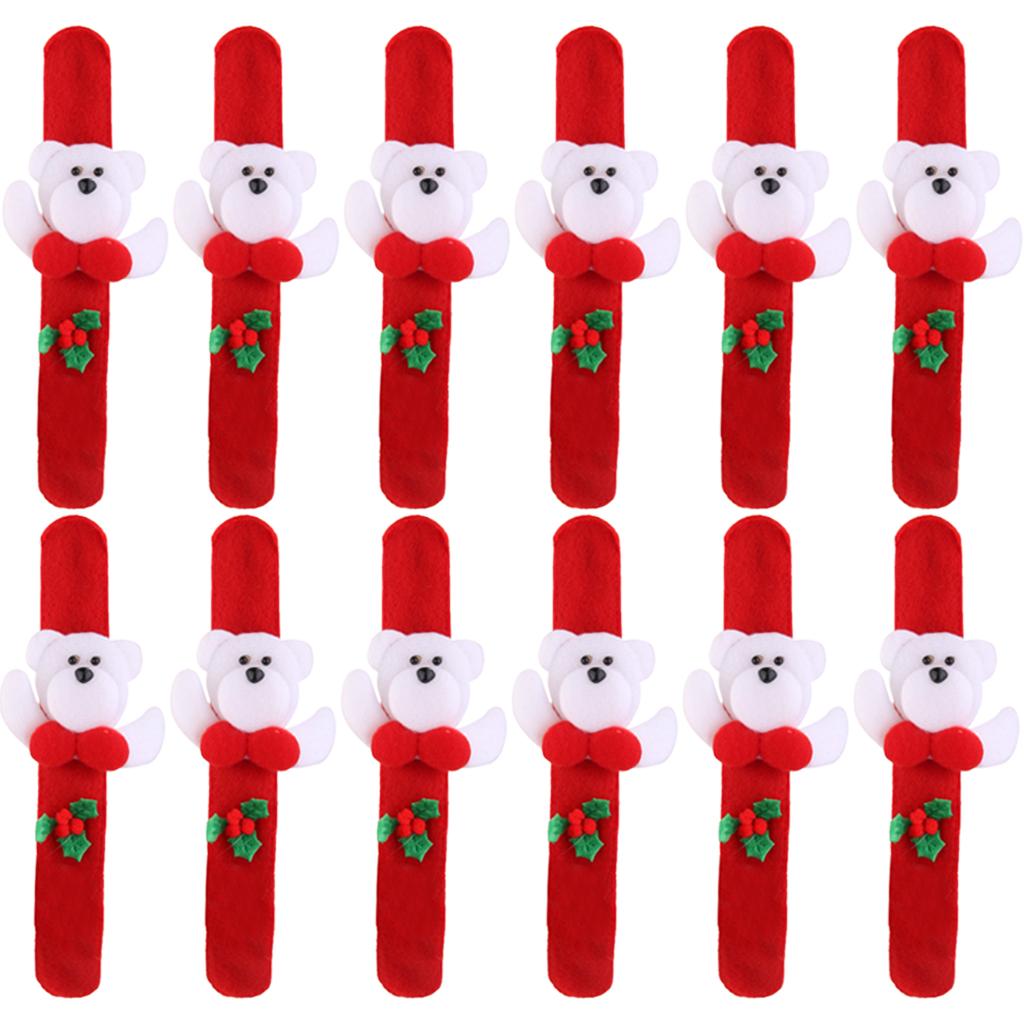 12x Christmas Bear Xmas Wrist Slap Band Wristband Bracelet Kids Party Favors