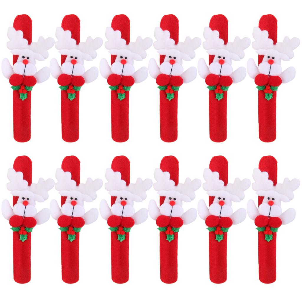 12x Christmas Deer Reindeer Xmas Wrist Slap Band Wristband Kids Party Favors