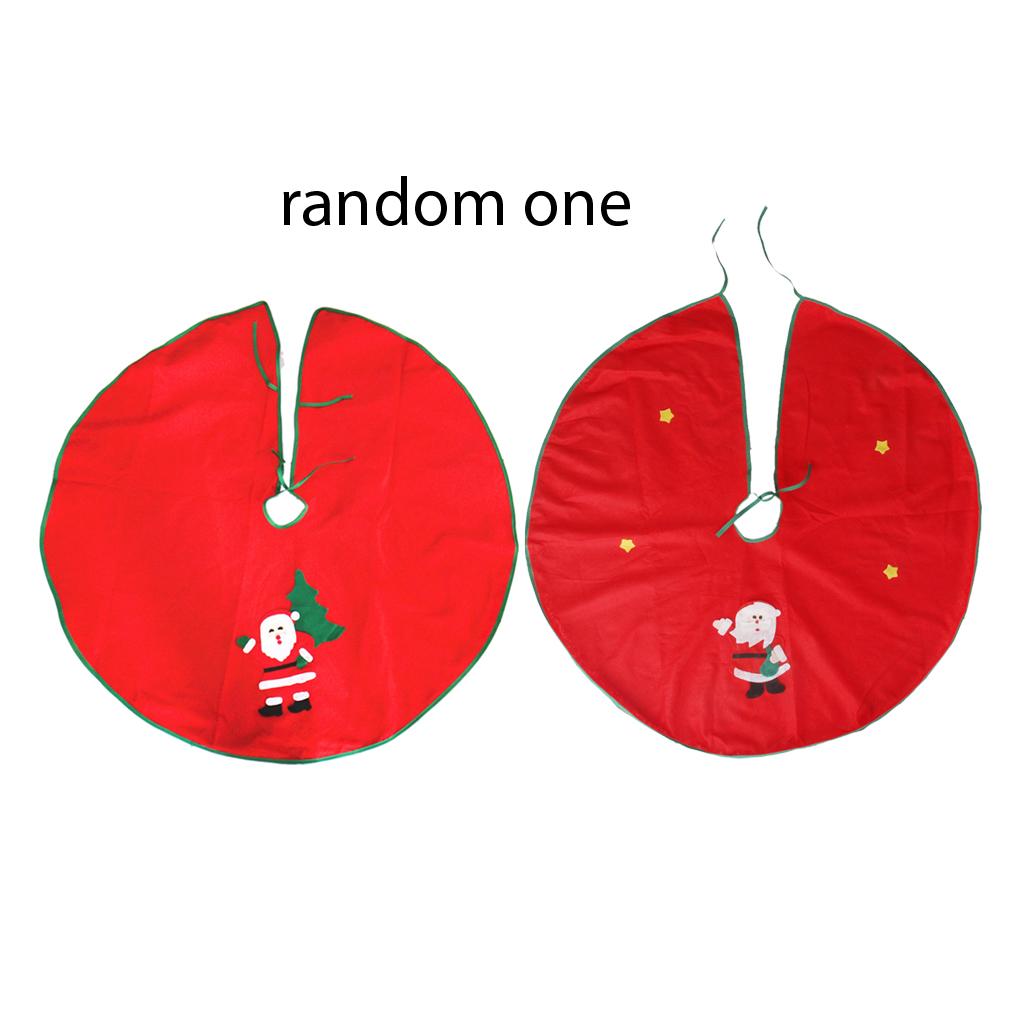 87cm Christmas Tree Skirt Santa Claus Style Applique Green Edge Party Decor