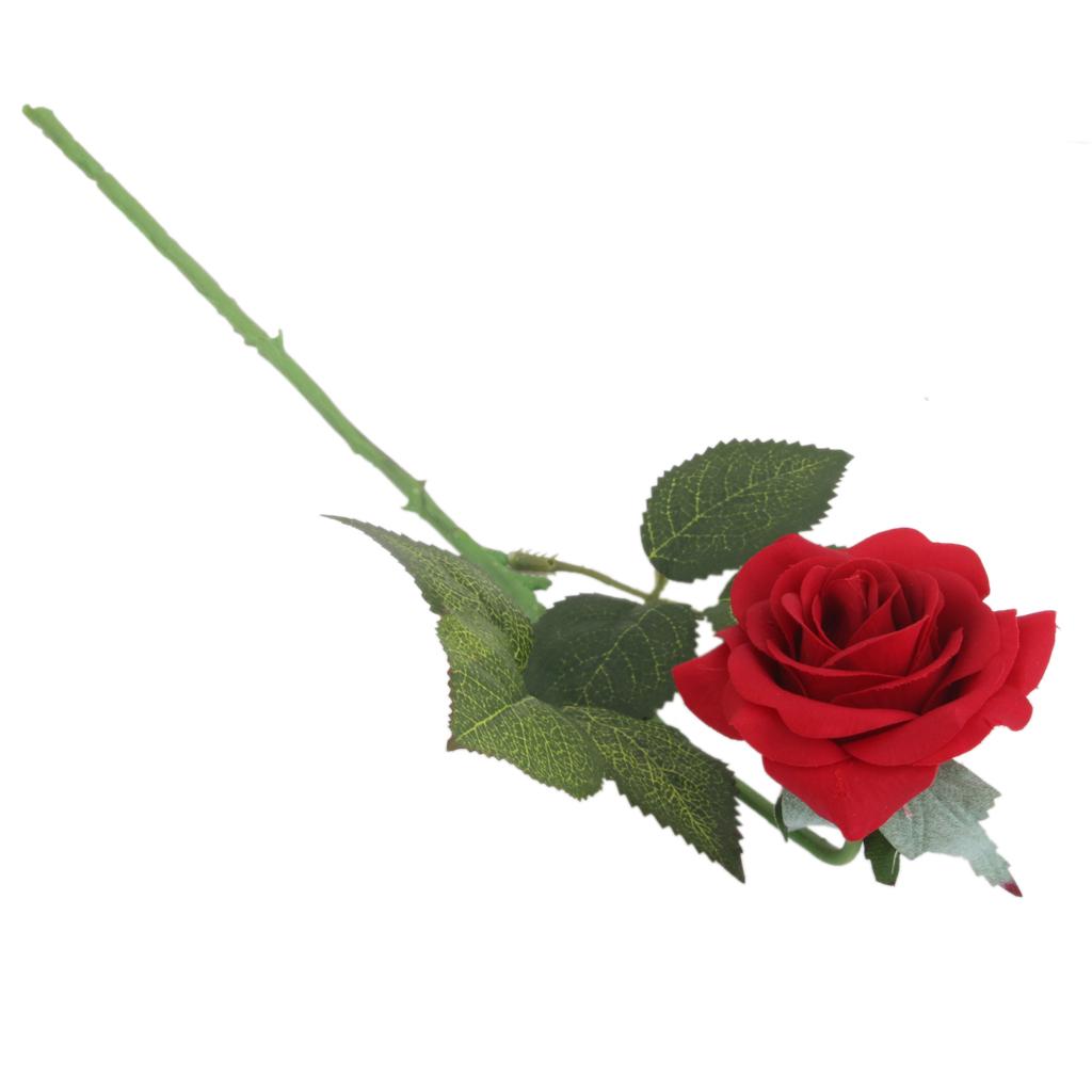 Artificial Lifelike Single Stem Rose Flower Wedding Party Craft Decor -Red