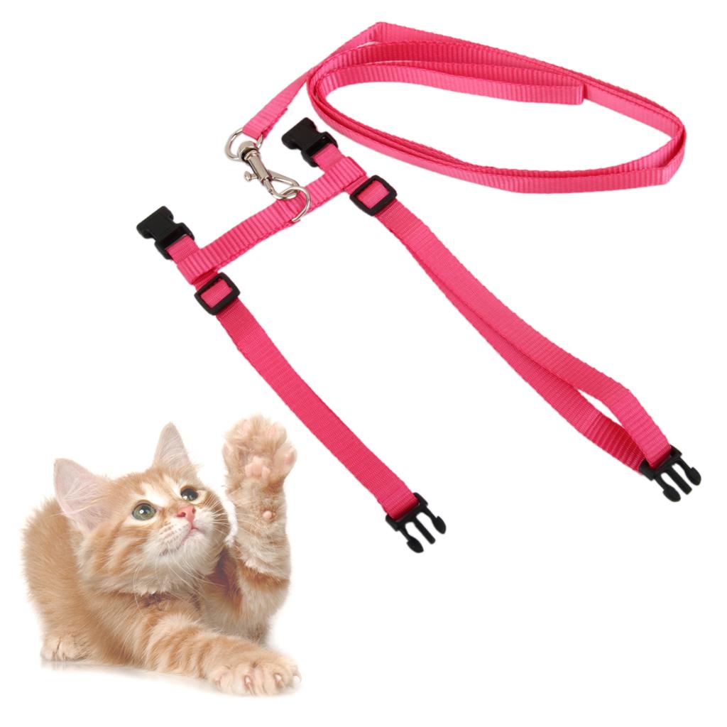 Adjustable Pet Cat Belt Nylon Leash Collar Harness Safety Strap Rope Pink