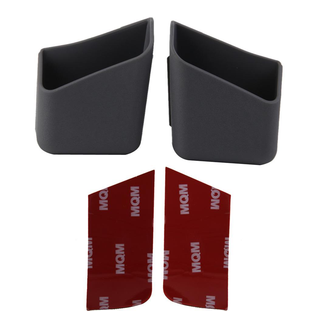 2x Car Dashboard Pillar Pocket Holder Storage for Smart Phone Key Card Grey
