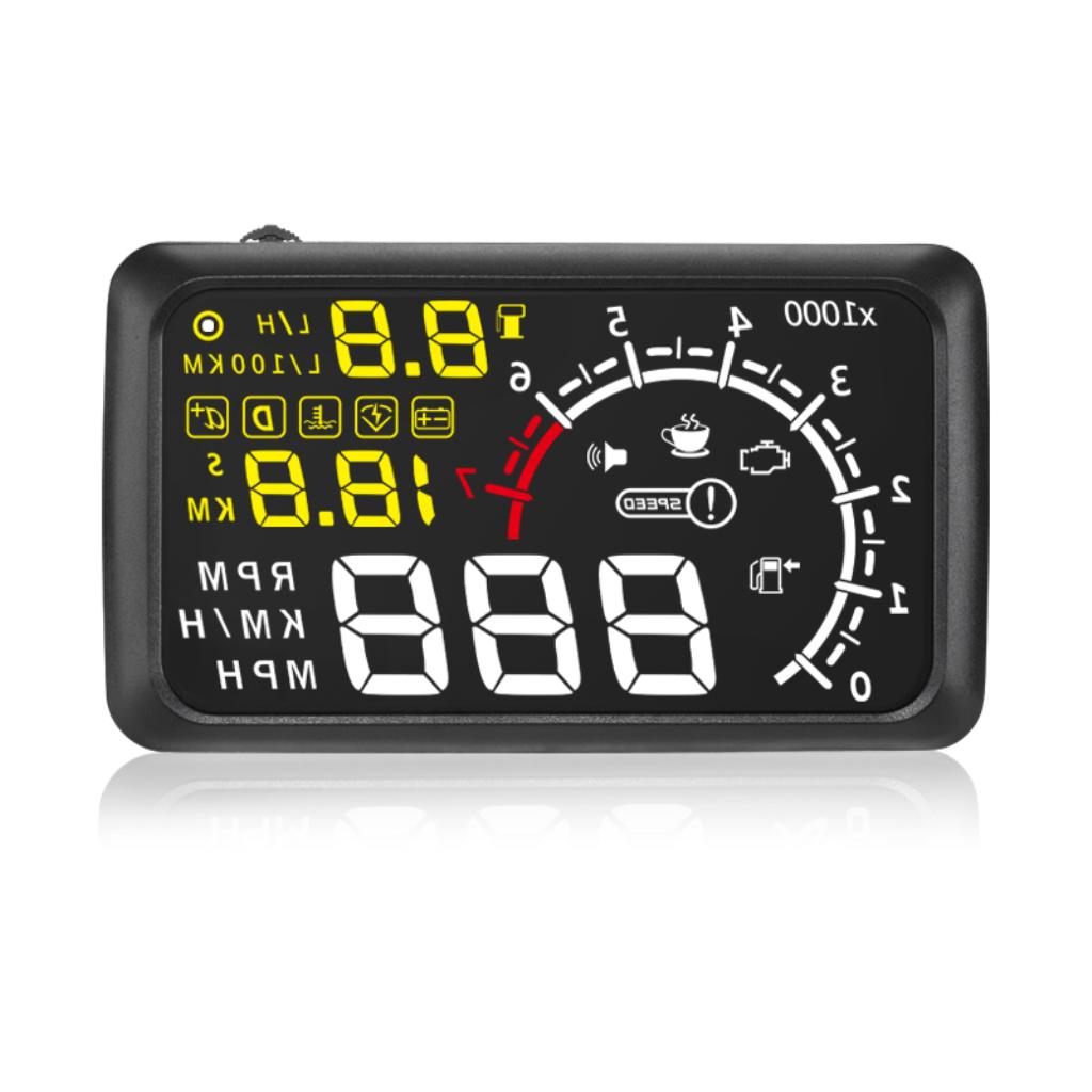 """X3 5.5"""" HUD Car OBDII/EUOBD Bluetooth Head Up Display MPH Speed Warning"""