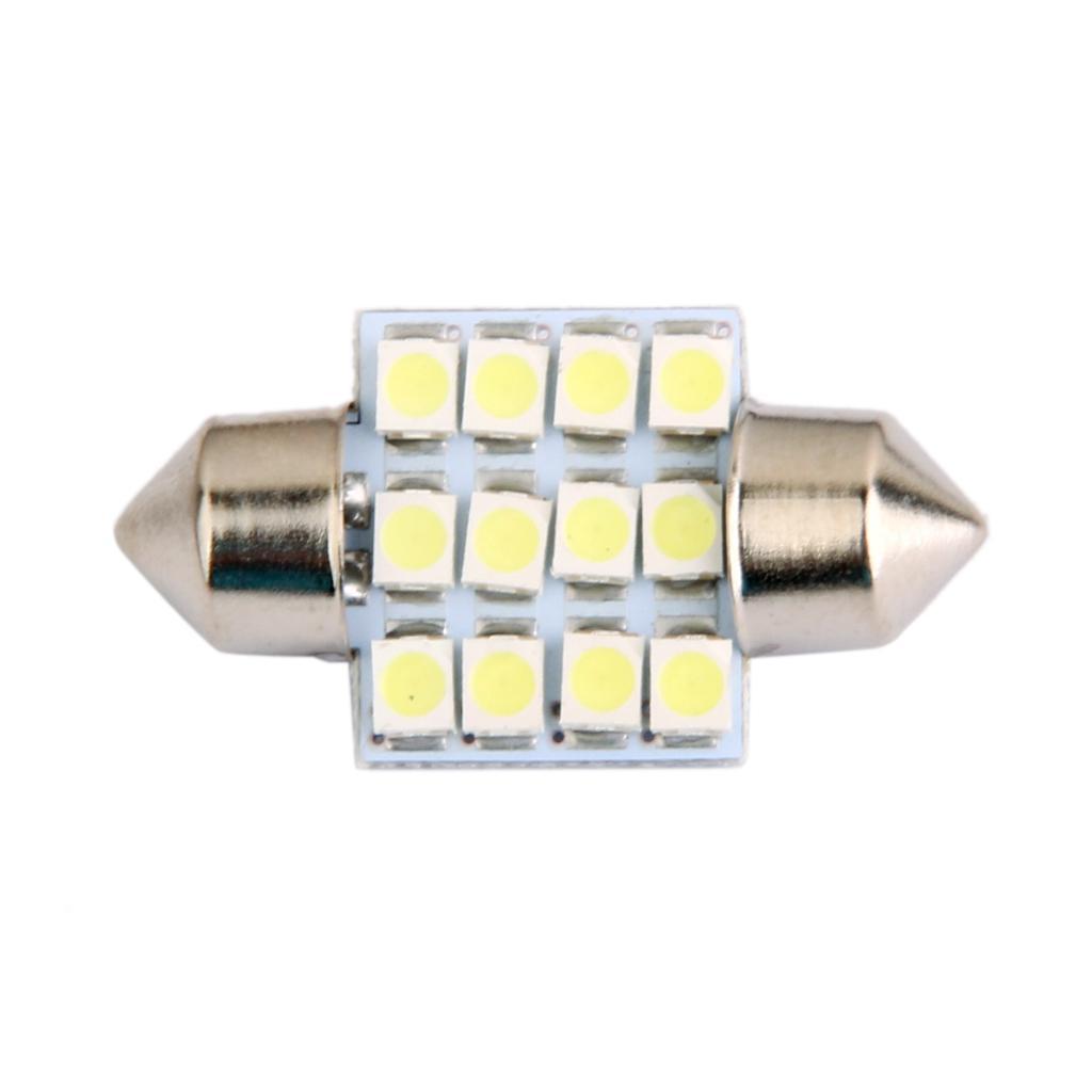 LED Car Bulb 31mm 3528 12LED SMD Dome Map Interior Light Lamp 12V White