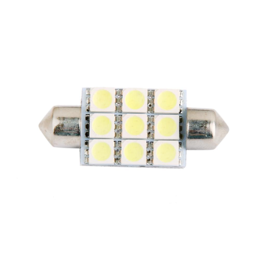 LED Car Bulb 39mm 5050 9 LEDS SMD Dome Map Interior Light Lamp 12V White