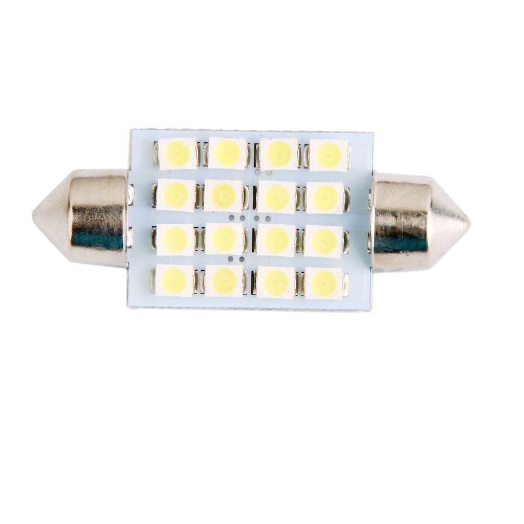 LED Car Bulb 39mm 3528 16 LEDS SMD Dome Map Interior Light Lamp 12V White
