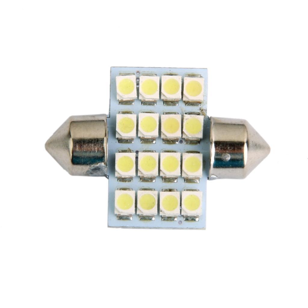 LED Car Bulb 31mm 3528 16 LEDS SMD Dome Map Interior Light Lamp 12V White