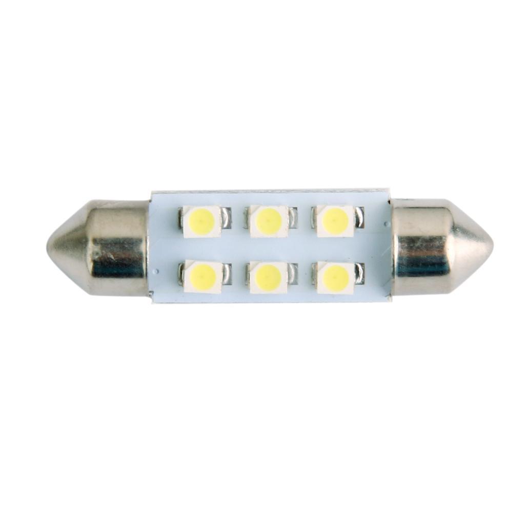 LED Car Bulb 39mm 3528 6 LEDS SMD Dome Map Interior Light Lamp 12V White