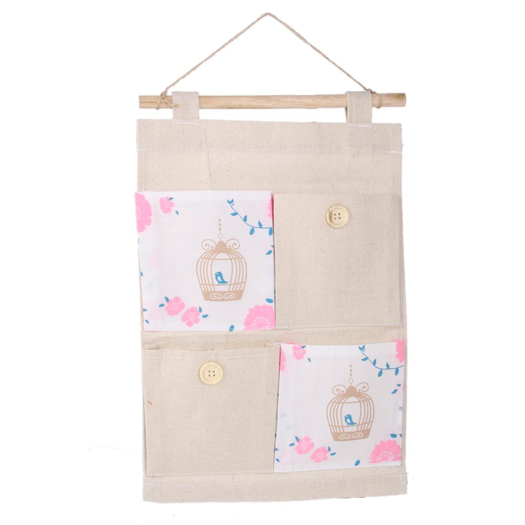 Wall Door Hanging 4 Pockets Storage Bag Organizer Holder -Bird cage pattern