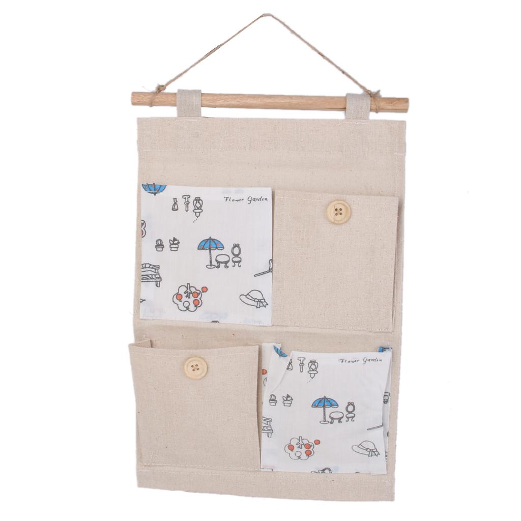 Wall Door Hanging 4 Pockets Storage Bag Organizer Holder -Umbrella pattern