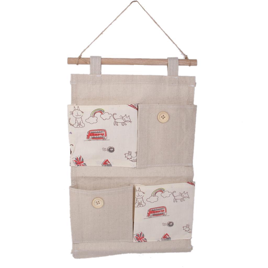 Wall Door Hanging 4 Pockets Storage Bag Organizer Holder -Cats pattern