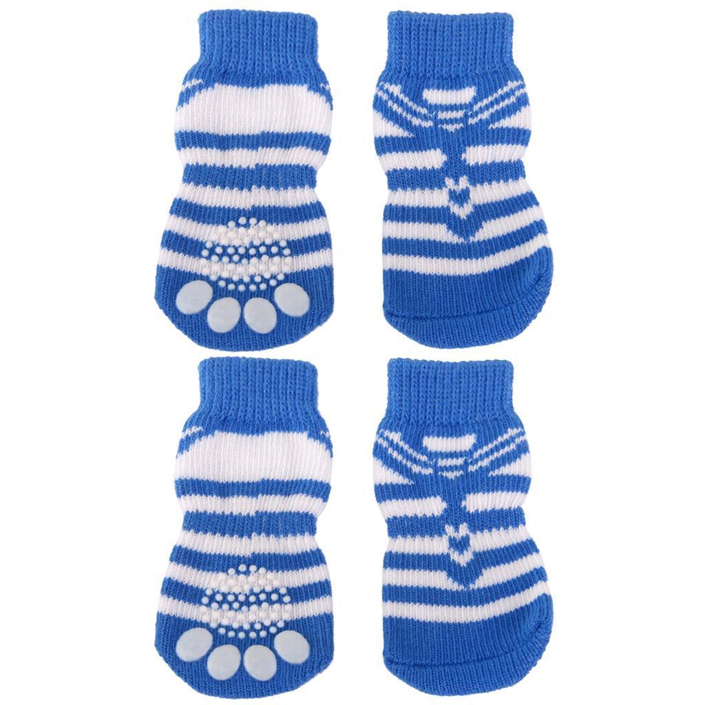 Striped Pet Dog Doggie Socks Paws Covers w/ Non-slip Bottom -Size L