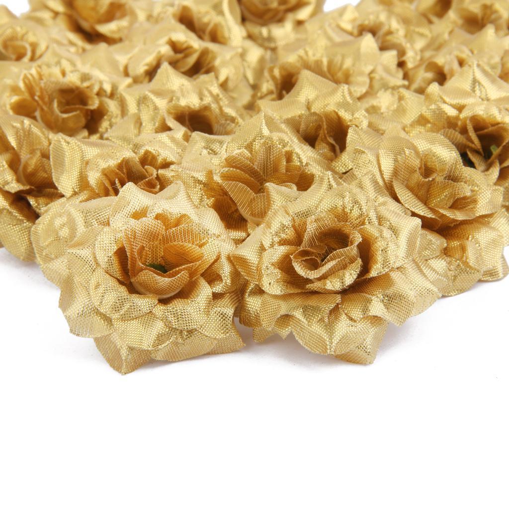 50x Artificial Silk Rose Flowers Heads Wedding Party Decoration Golden