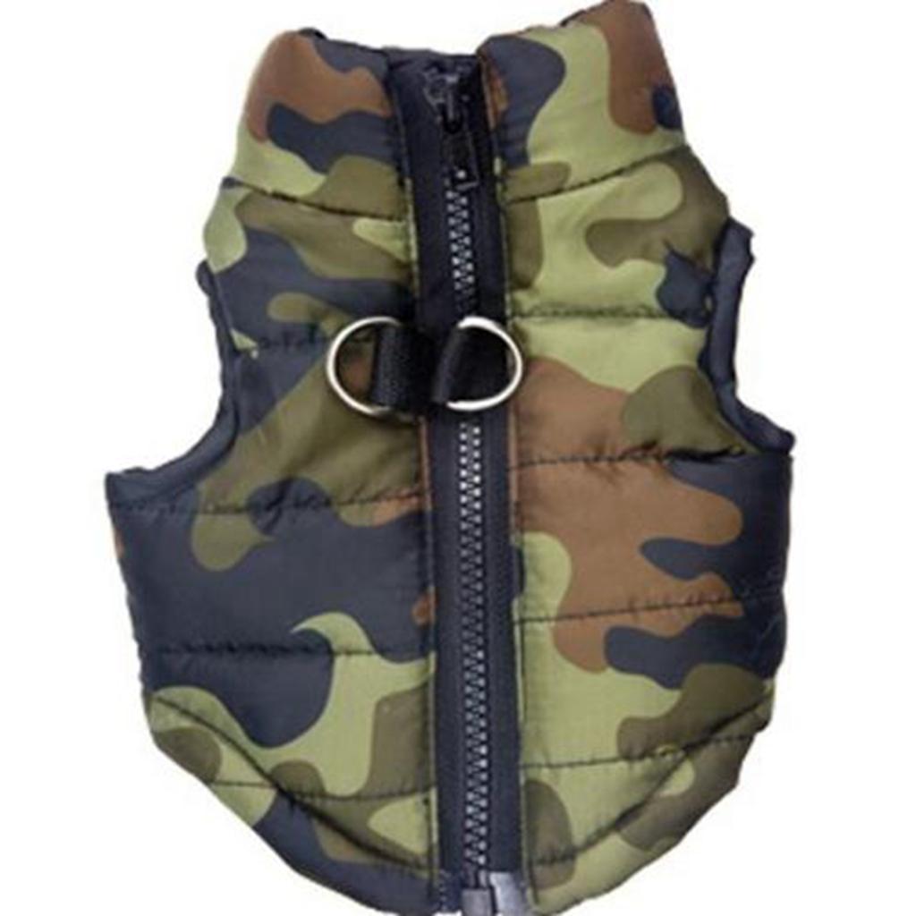 Pet Dog Cotton-padded Vest Clothes Coat Jacket Apparel Size XS -Camouflage