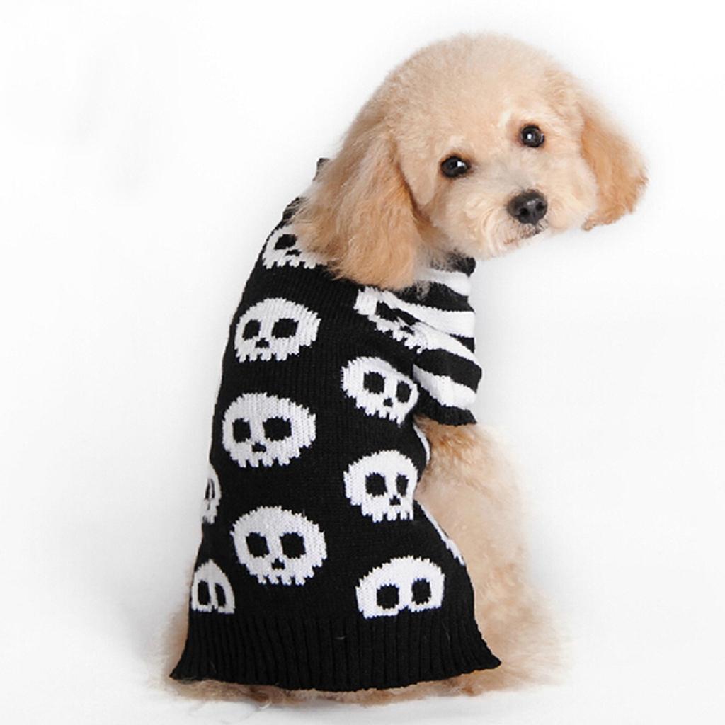White Skeleton Bone Pattern Dog Turtleneck Sweater Dog Clothes Size S