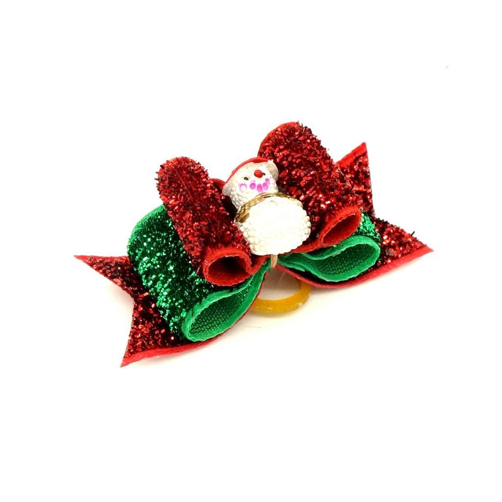 Christmas Pet Dog Hair Rubber Band Rope Snowman Ribbon Bow Hair Grooming