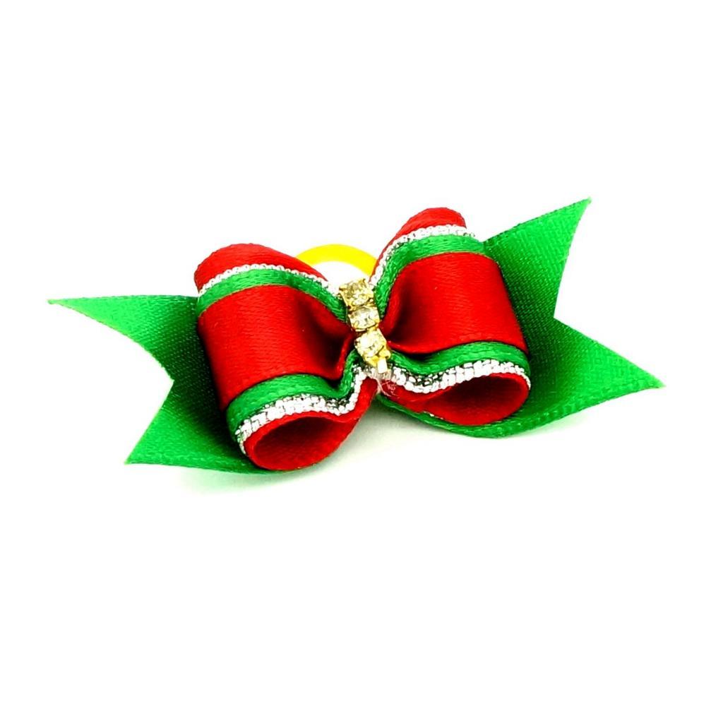 Christmas Pet Dog Hair Rubber Band Rope Rhinestones Ribbon Bow Hair Grooming
