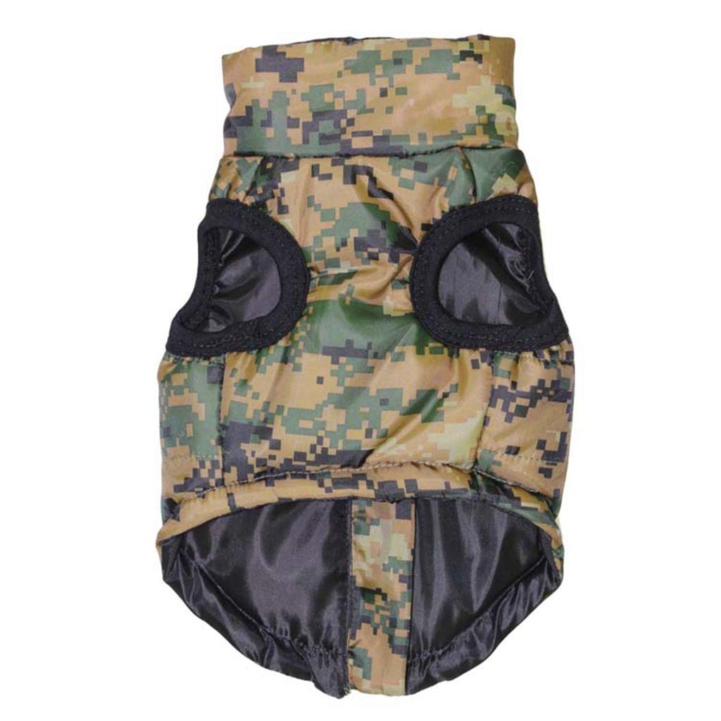 Pet Dog Puppy Cool Comouflage Color Cotton Pad Warm Vest Jacket Clothes L