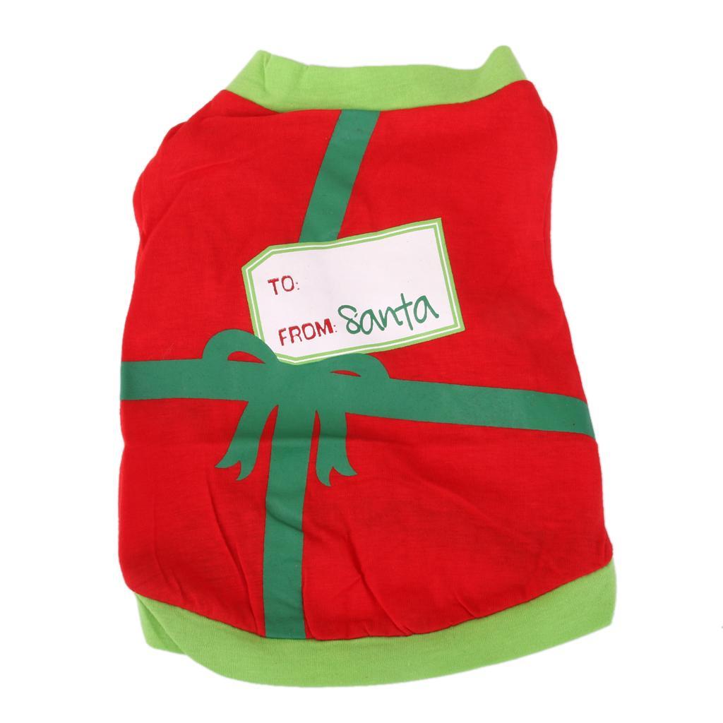 Pet Dog Puppy Cat Clothes Harness Vest T Shirt Apparel Santa Gift Decor XS