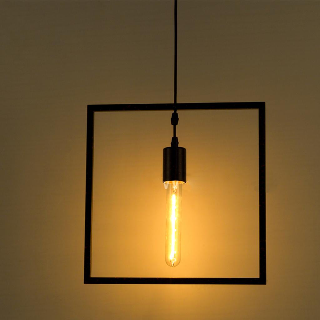 Edison Vintage Geometric Square Ceiling Pendant Light Lamp Holder Fixture