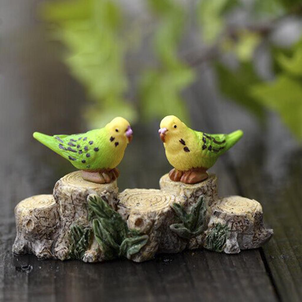10x Miniature Resin Green Parrot Budgerigar Micro Landscape Craft DIY Decor