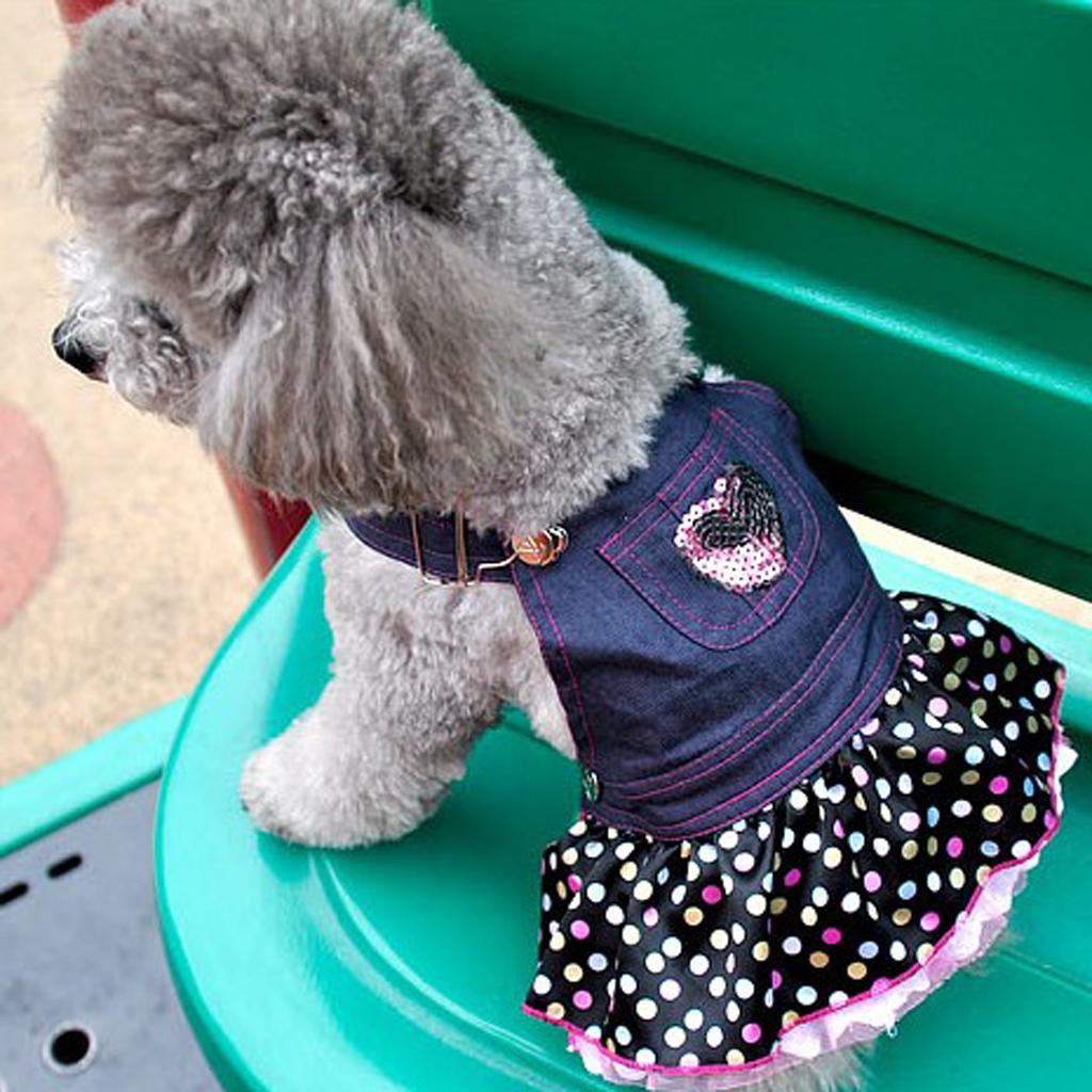 Dog Puppy Denim Dungarees Pink Heart Sequin Polka Dot Ruffle Jumper Dress M