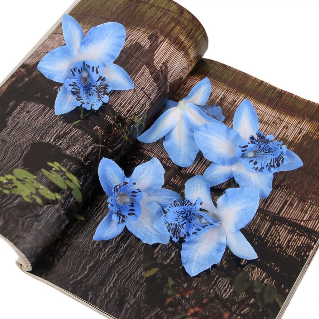 20pcs 8cm Artificial Silk Orchid Dendrobium Flower Heads Decor -Blue