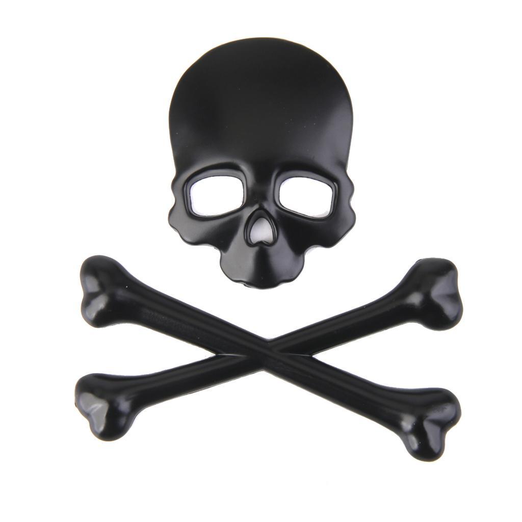 3D Metal Skull CrossBones Emblem Car Truck Motor Decal Badge Sticker -Black