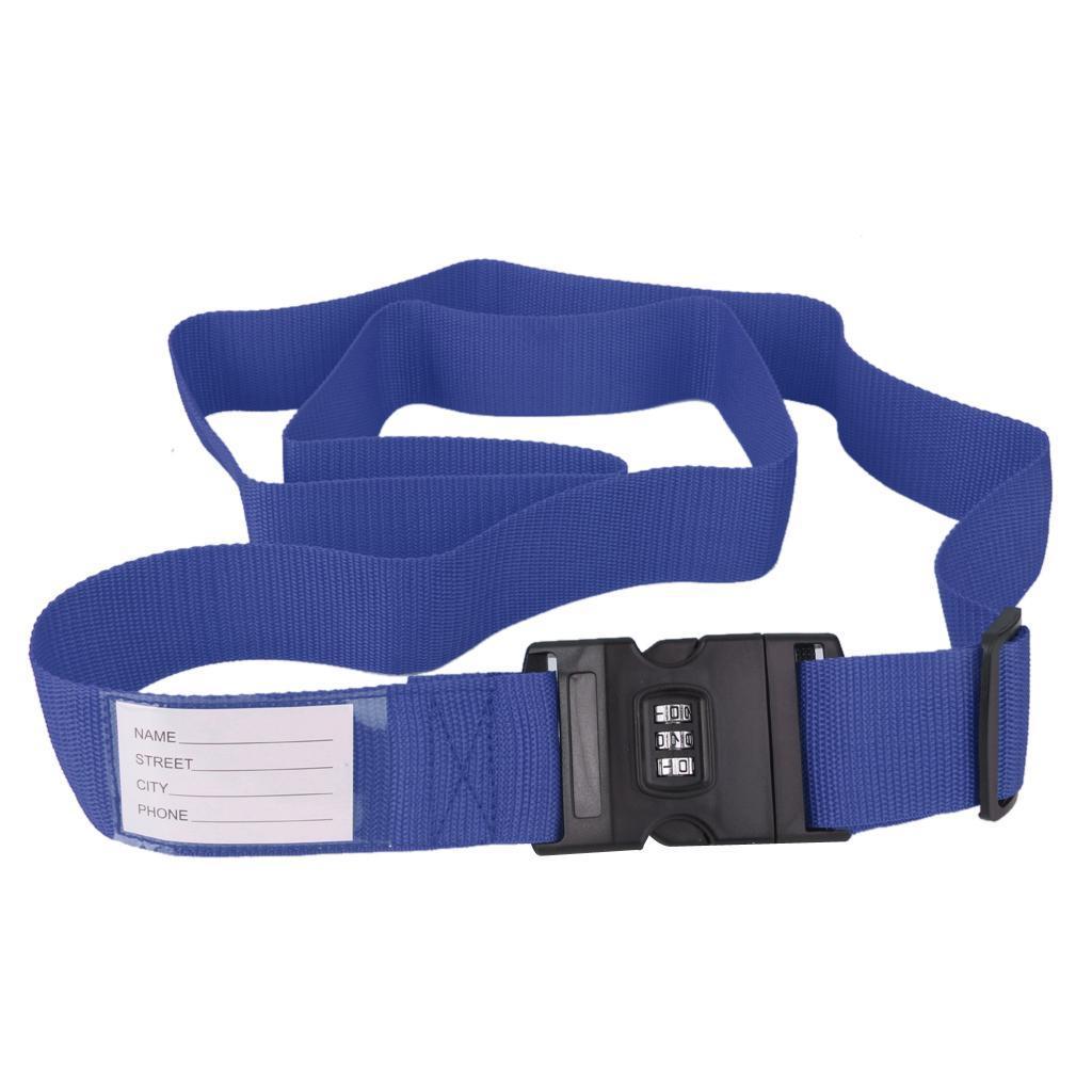 Adjustable Luggage Strap Belt Tie Down Travel Secure Lock Blue