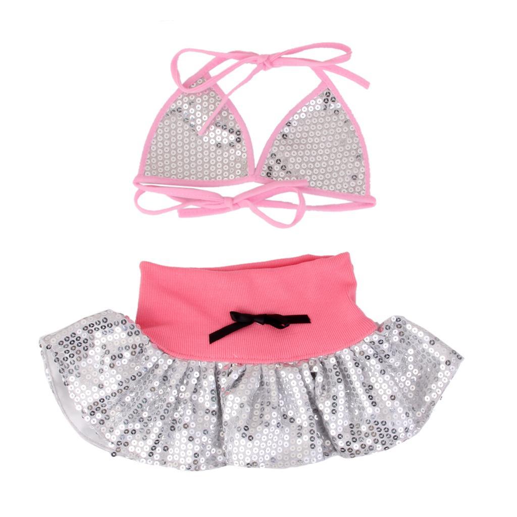 Pet Dog Swimming Suit Bling Bikini Summer Holiday Beach Dress Light Pink M