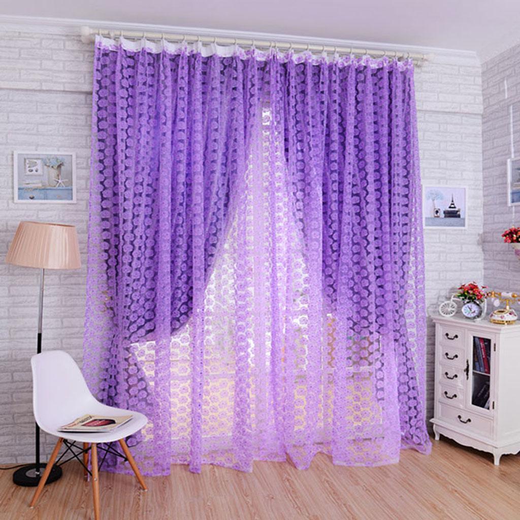 Rose Pattern Tulle Door Window Divider Voile Drape Curtain Valance Purple