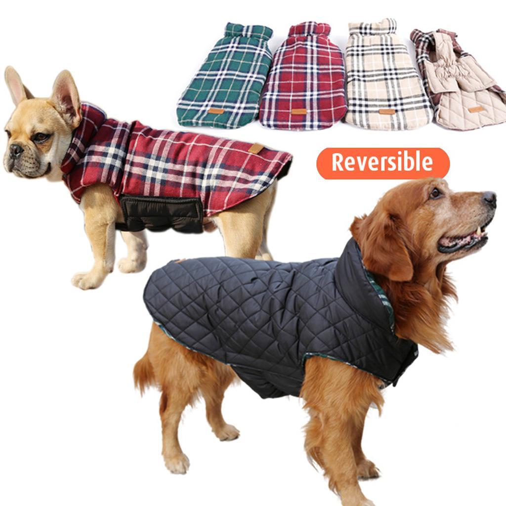 Pet Dog Waterproof Reversible Plaid Jacket Coat Winter Warm Clothes Red M