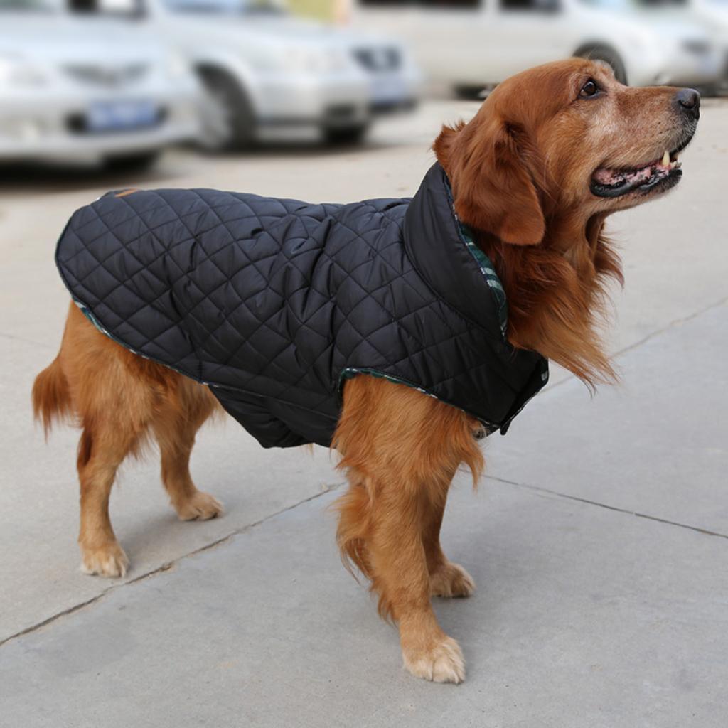 Pet Dog Waterproof Reversible Plaid Jacket Coat Winter