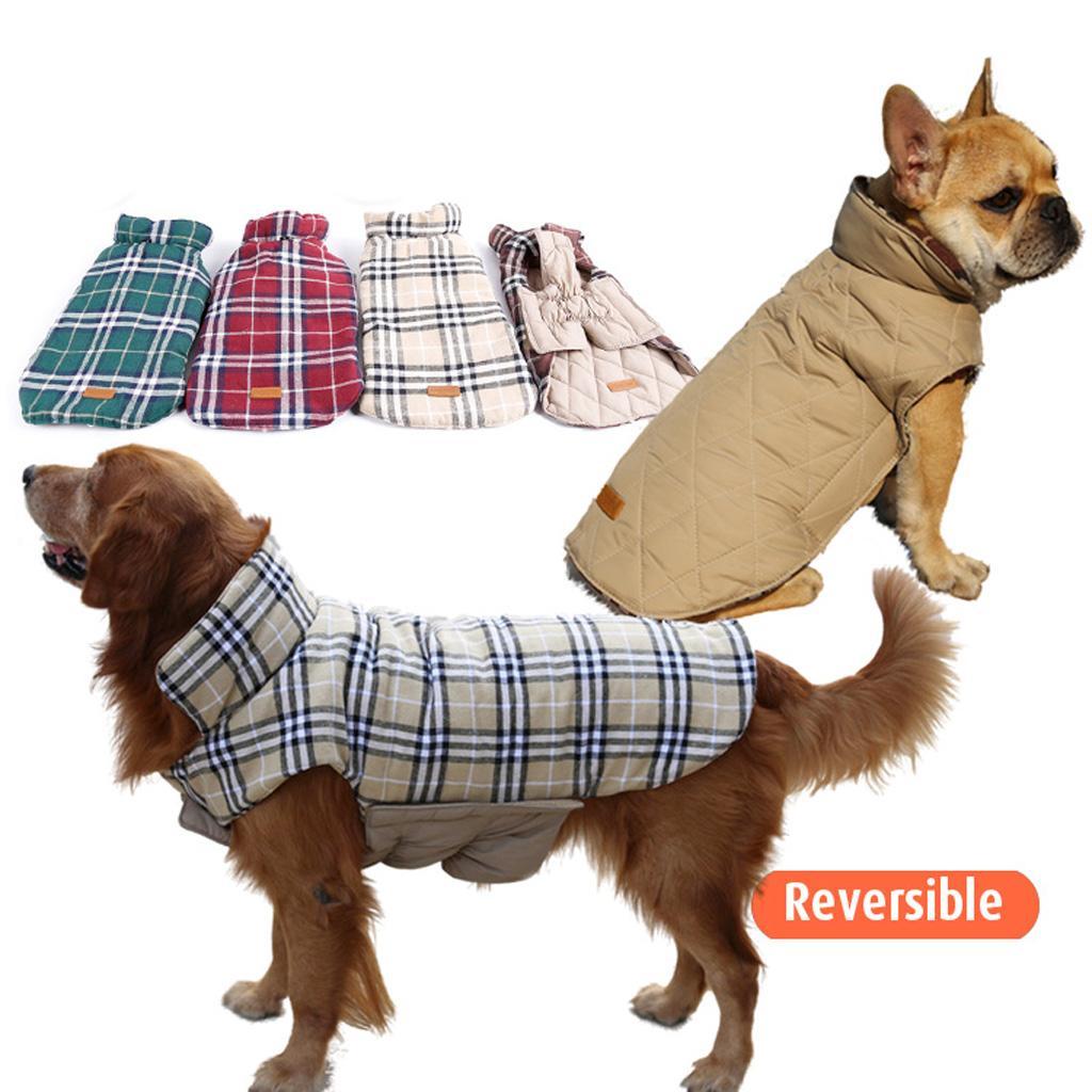 Pet Dog Waterproof Reversible Plaid Jacket Coat Winter Warm Clothes Beige S