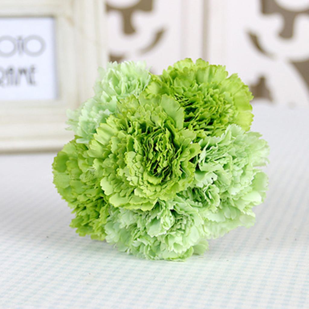 Artificial Silk Flower Carnation Bouquet Wedding Home Decoration Green
