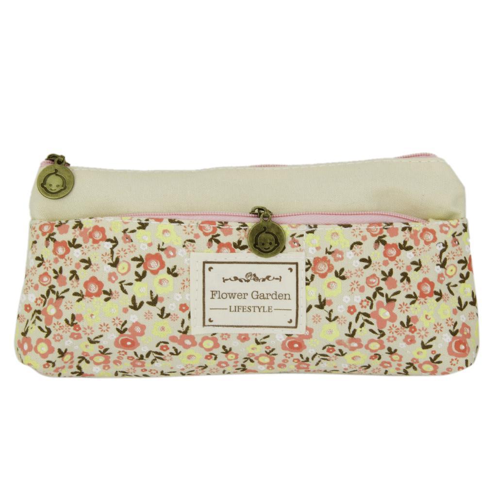 Flower Canvas Pencil Case Cosmetic Makeup Coin Pouch Zipper Bag Purse Beige