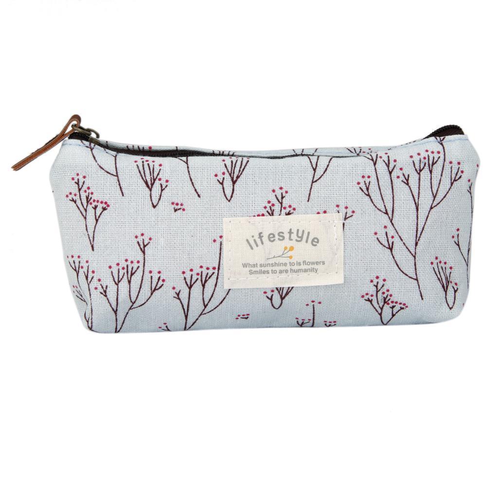 Flower Pencil Pen Case Cosmetic Makeup Bag Storage Pouch Purse Blue