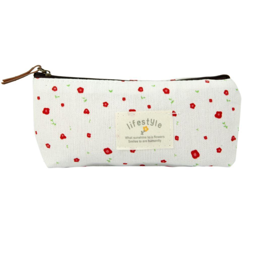 Flower Pencil Pen Case Cosmetic Makeup Bag Storage Pouch Purse Beige