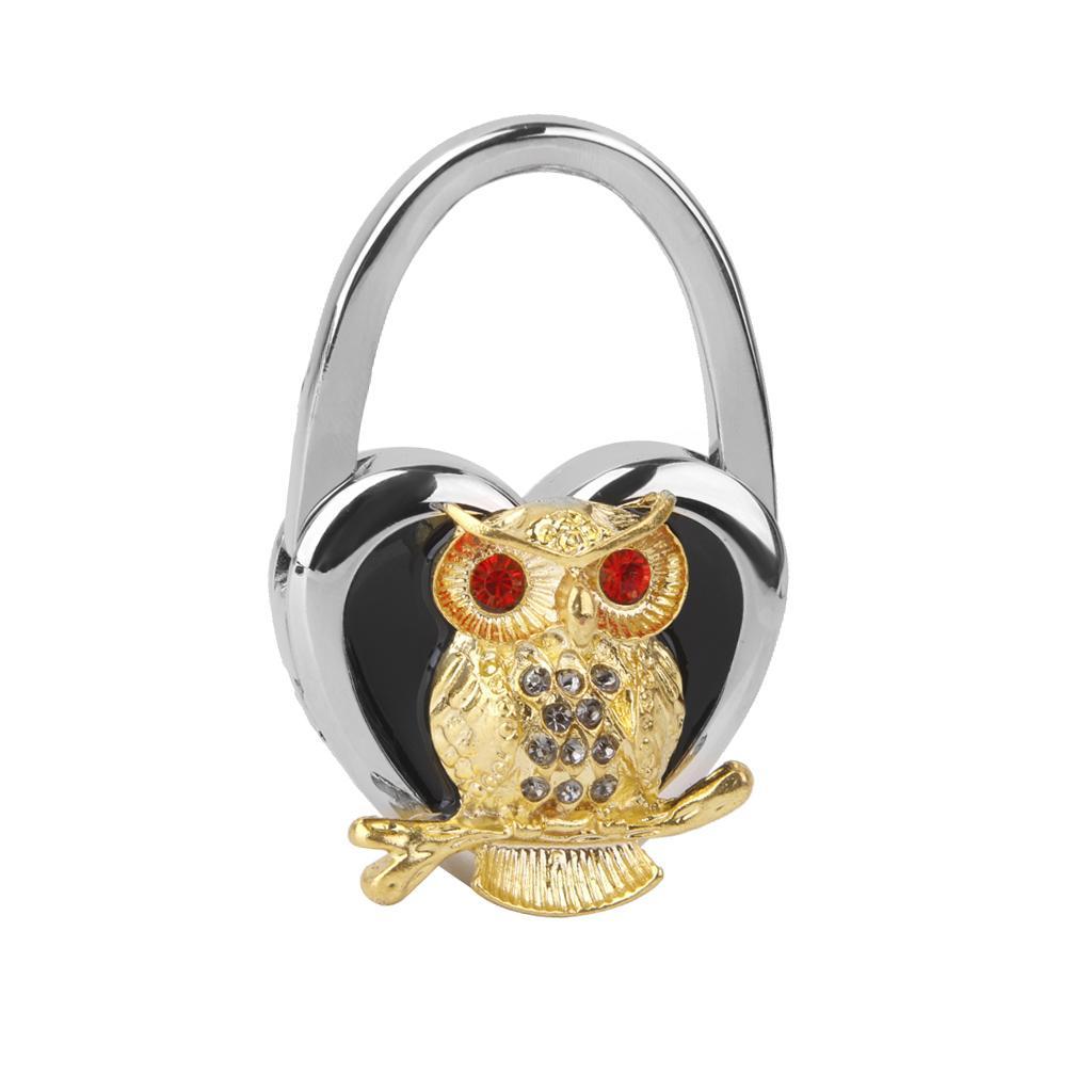 Table Foldable Purse Bag Rhinestone Hanger Handbag Hook Holder Owl Black