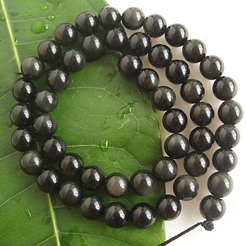Obsidian Round Gemstone Loose Bead Strand 8mm / 15.5 Inch