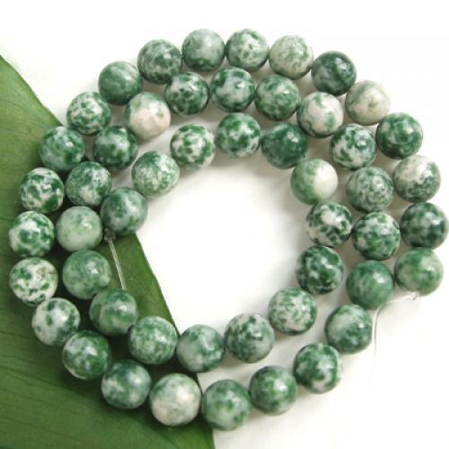 2 Strands Green Spot Stone Round Gemstone Loose Beads 8mm / 15.5 Inch