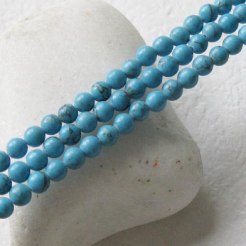 2 Strand 4mm Turquoise Round Gemstone Loose Beads 15.5 Inch