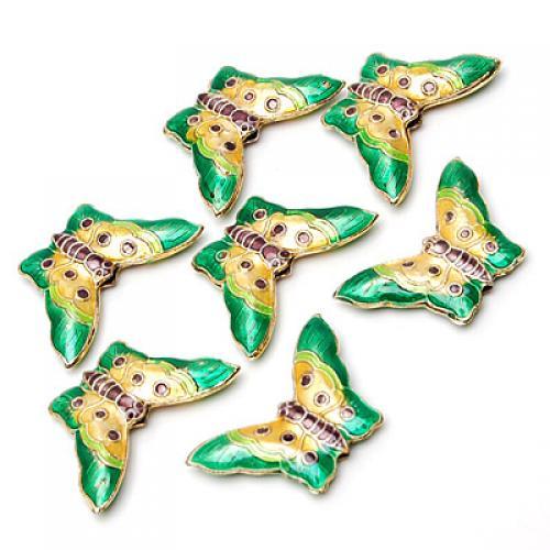 5 Pieces Beautiful Cloisonne Enamel Butterfly Bead -- Green