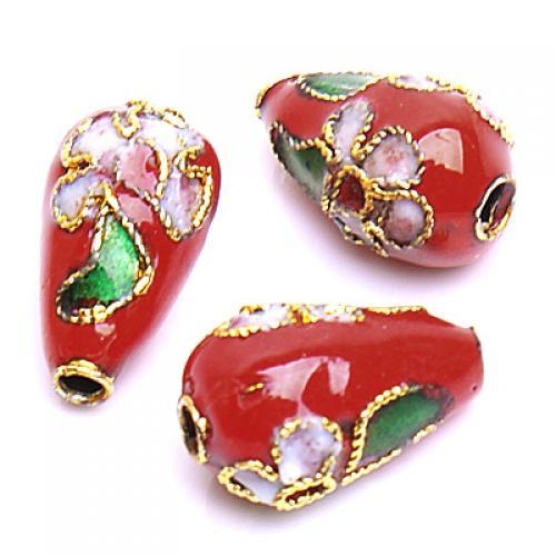 Stunning Cloisonne Teardrop Bead----Red