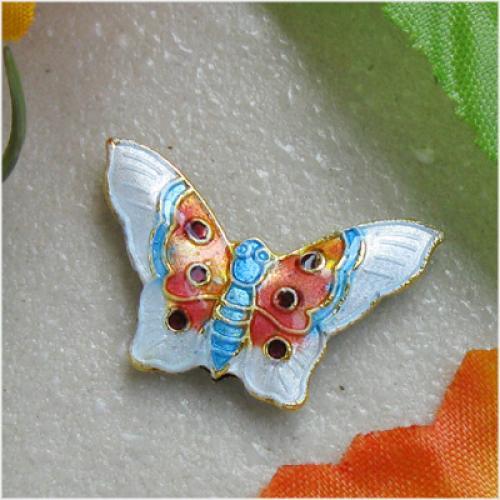 2 Beautiful Cloisonne Enamel Butterfly Bead -- White
