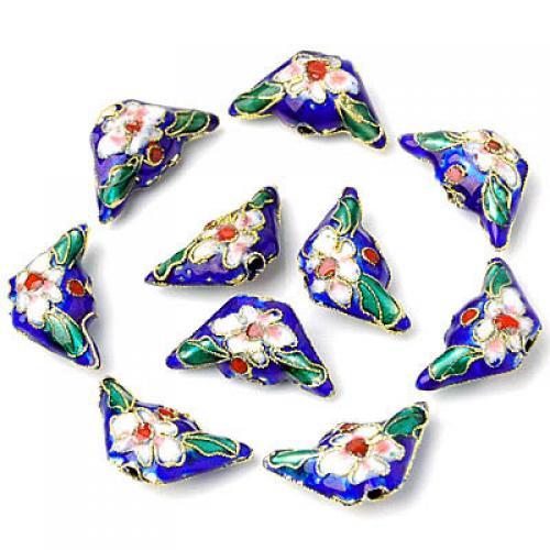 10 Pcs Beautiful Cloisonne Ingot Bead ---- Dark Blue