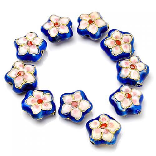 10 Pcs 16mm Beautiful Cloisonne Flower Bead ---- Blue